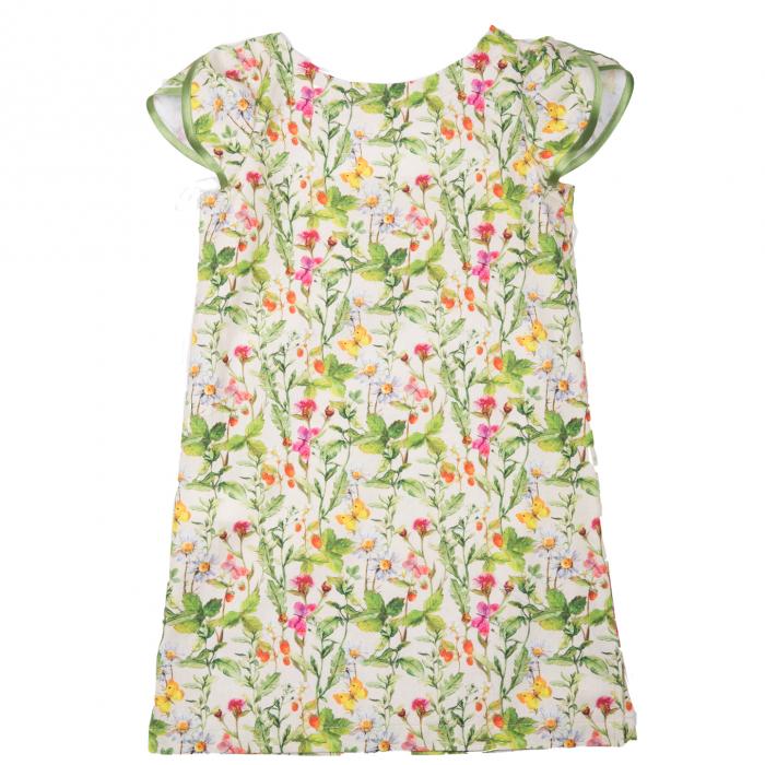 Rochiță dreaptă cu mâneci în formă de petale, care se închide la spate cu un nasture. Primavara vintage - design natural cu ramuri verzi, flori colorate şi fluturi care se intrepătrund formând o continuitate florală. Culorile galbene, roşii şi roz sunt imprimate pe un fond crem. 0