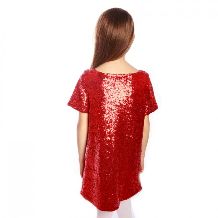 Rochiță elegantă creată dintr-un material elastic, ușor de purtat. Dublată cu o căptușeală elastică de bumbac (95%), aceasta poate fi purtată fără a afecta pielea copilului.  Porniți reflectoarele! Fetița dumneavoastră va străluci! 1