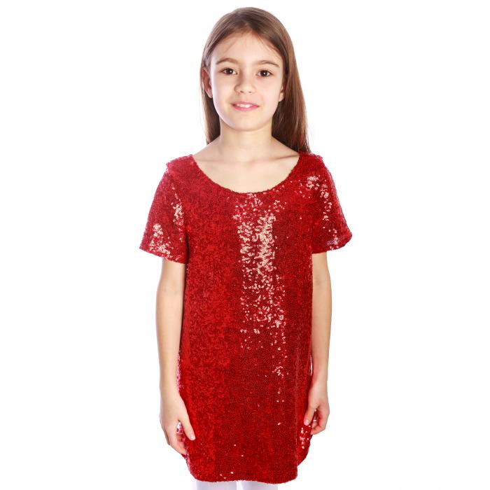 Rochiță elegantă creată dintr-un material elastic, ușor de purtat. Dublată cu o căptușeală elastică de bumbac (95%), aceasta poate fi purtată fără a afecta pielea copilului.  Porniți reflectoarele! Fetița dumneavoastră va străluci! 0