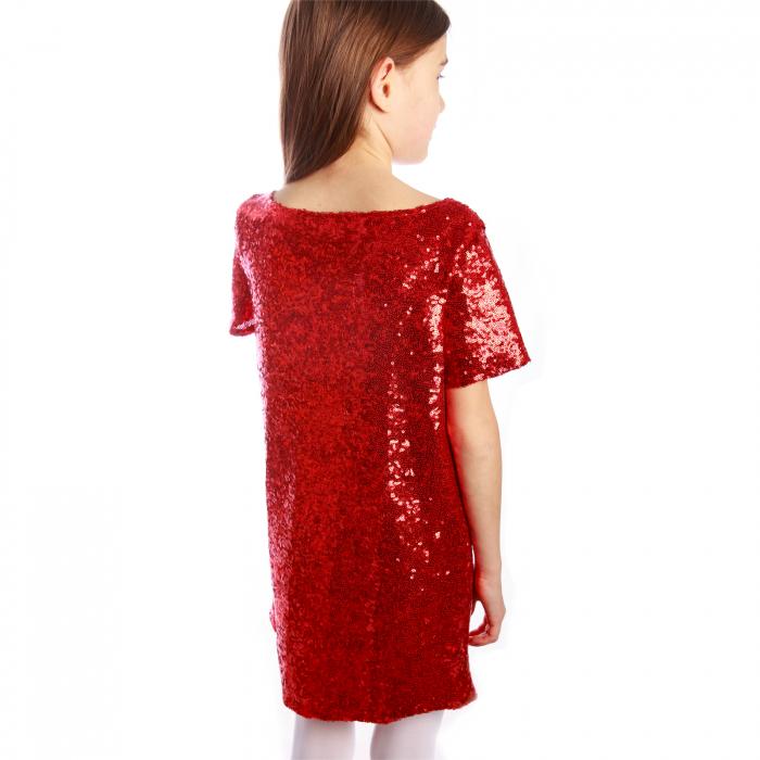 Rochiță elegantă creată dintr-un material elastic, ușor de purtat. Dublată cu o căptușeală elastică de bumbac (95%), aceasta poate fi purtată fără a afecta pielea copilului.  Porniți reflectoarele! Fetița dumneavoastră va străluci! 2
