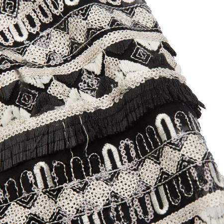 Fustă broderie paiete alb-negru3