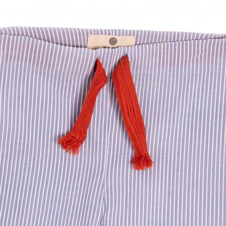 Pantaloni vară bleu cu dungi albe2
