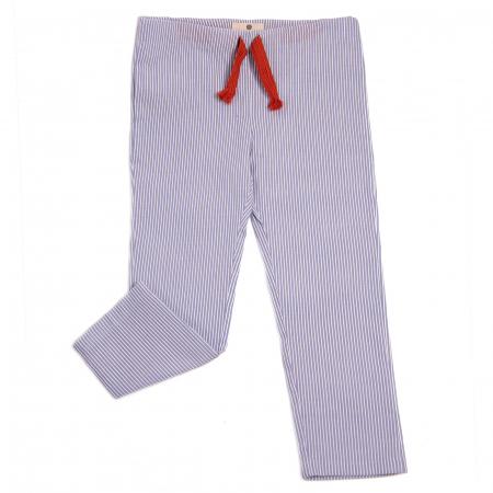 Pantaloni vară bleu cu dungi albe0