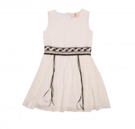 Rochiță albă cu brâu de paiete0