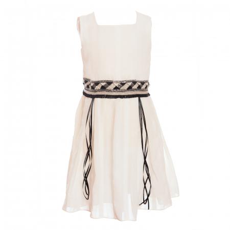 Rochiță albă cu brâu de paiete2