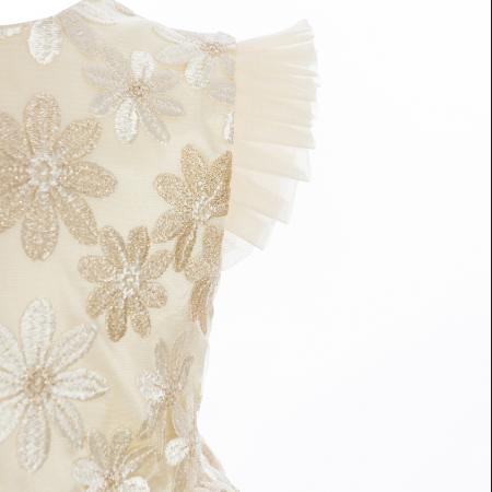 Rochiță dantelă crem-auriu1