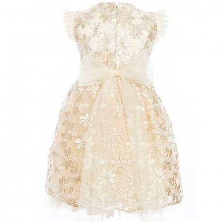 Rochiță dantelă crem-auriu0