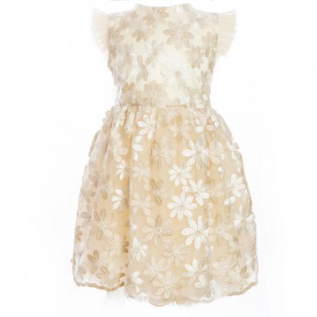 Rochiță dantelă crem-auriu2