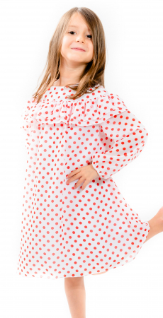 Rochiță voal cu buline roșii0