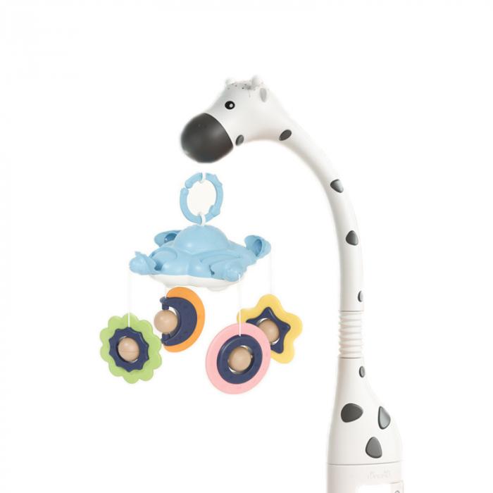 Carusel cu lumini Girafa Somnoroasa pentru patutul bebelusului, Tumama, alb 0