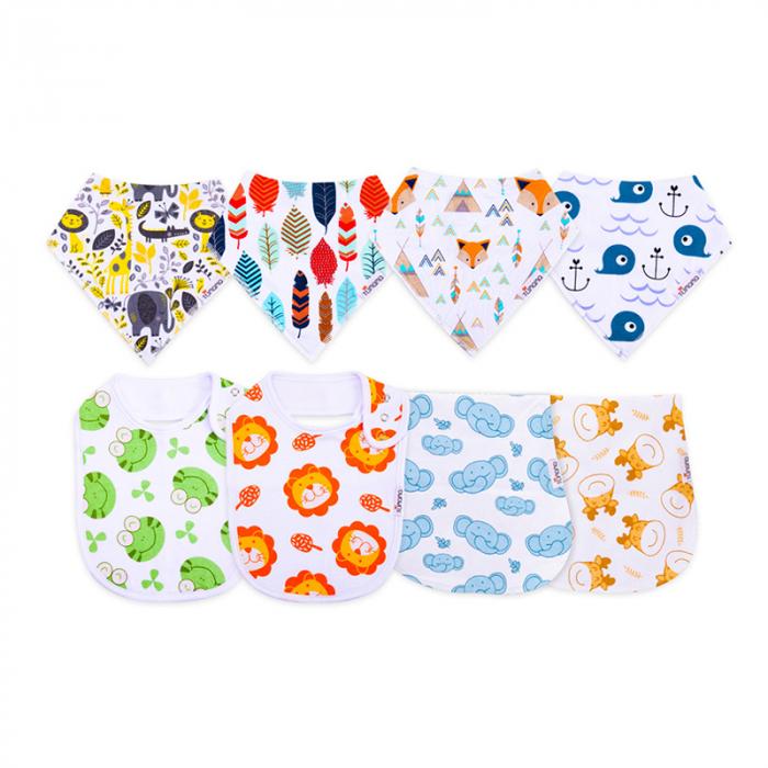 4 seturi 2 in 1 Tumama® bandana si babetica bebelusi, imprimeuri multicolore 0