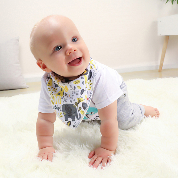 4 seturi 2 in 1 Tumama® bandana si babetica bebelusi, imprimeuri multicolore 4