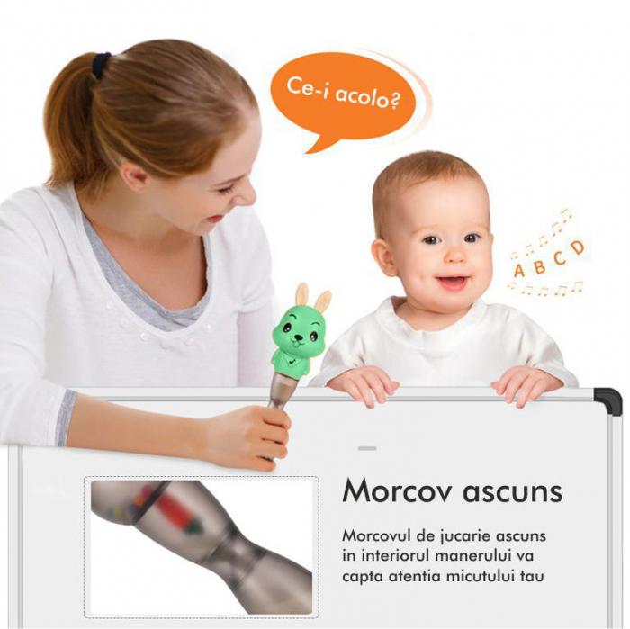 Jucarie muzicala electronica Maracas, cu zornaitoare, pentru copii si bebelusi, verde 4