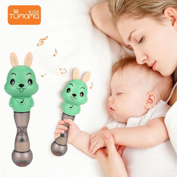 Jucarie muzicala electronica Maracas, cu zornaitoare, pentru copii si bebelusi, verde 7