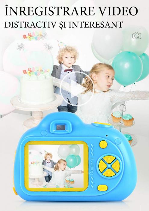 Aparat Foto Compact pentru Copii, Albastru, cu functie Selfie, Recunoastere Faciala, Filmare HD 5