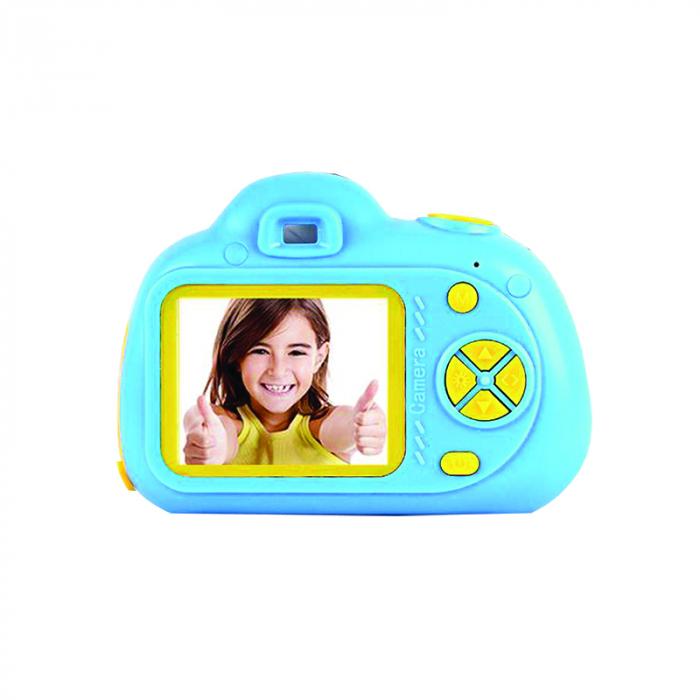 Aparat Foto Compact pentru Copii, Albastru, cu functie Selfie, Recunoastere Faciala, Filmare HD 0