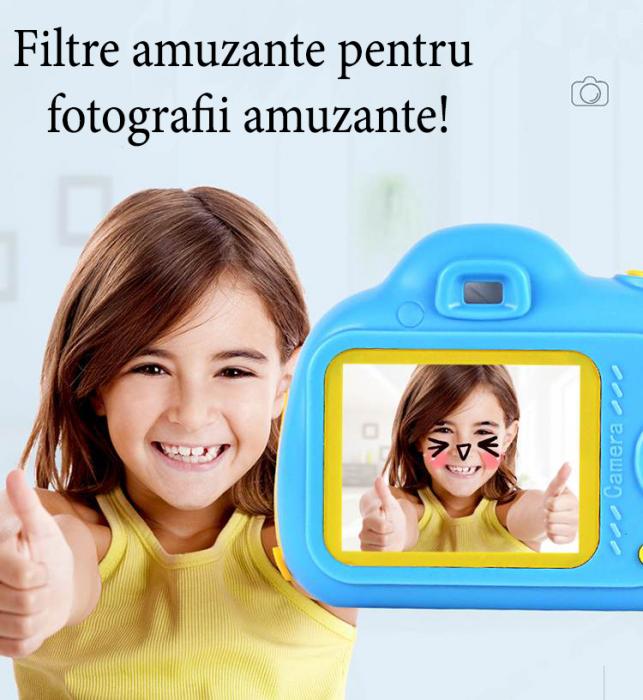 Aparat Foto Compact pentru Copii, Albastru, cu functie Selfie, Recunoastere Faciala, Filmare HD 6