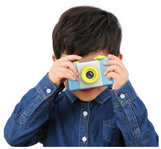 Aparat Foto Compact pentru Copii, Albastru, cu Obiectiv, Fotografiere Full HD, Filmare HD + Cadou Husa de protectie 2
