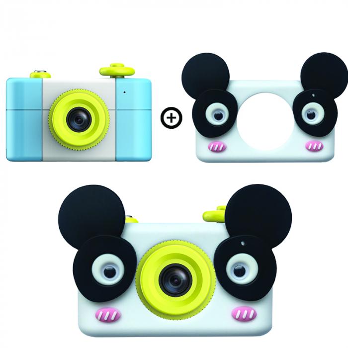 Aparat Foto Compact pentru Copii, Albastru, cu Obiectiv, Fotografiere Full HD, Filmare HD + Cadou Husa de protectie 0