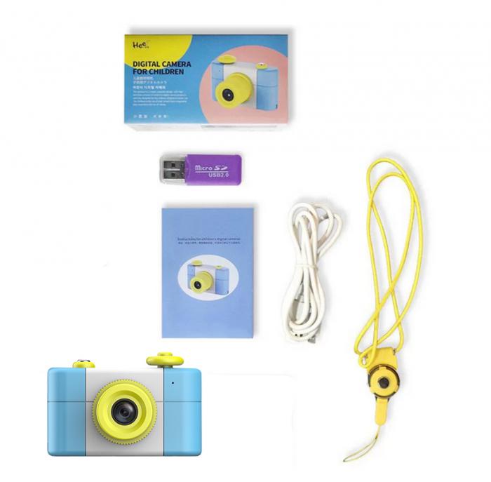 Aparat Foto Compact pentru Copii, Albastru, cu Obiectiv, Fotografiere Full HD, Filmare HD + Cadou Husa de protectie 4