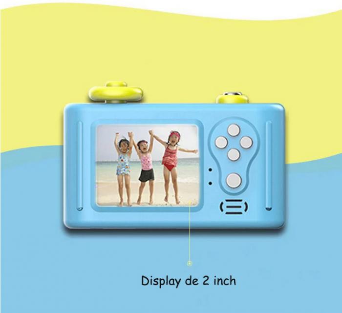 Aparat Foto Compact pentru Copii, Albastru, cu Obiectiv, Fotografiere Full HD, Filmare HD + Cadou Husa de protectie 8