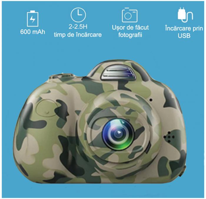 Aparat Foto Compact pentru Copii, Camuflaj, cu functie Selfie, Recunoastere Faciala, Filmare HD 5