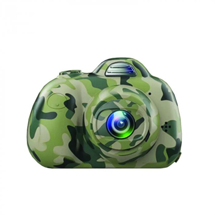 Aparat Foto Compact pentru Copii, Camuflaj, cu functie Selfie, Recunoastere Faciala, Filmare HD 0