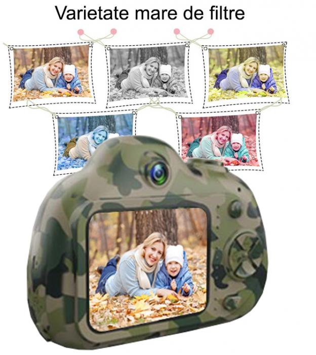 Aparat Foto Compact pentru Copii, Camuflaj, cu functie Selfie, Recunoastere Faciala, Filmare HD 6