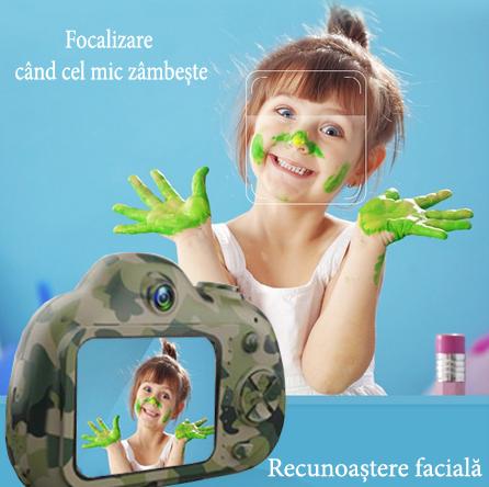 Aparat Foto Compact pentru Copii, Camuflaj, cu functie Selfie, Recunoastere Faciala, Filmare HD 4
