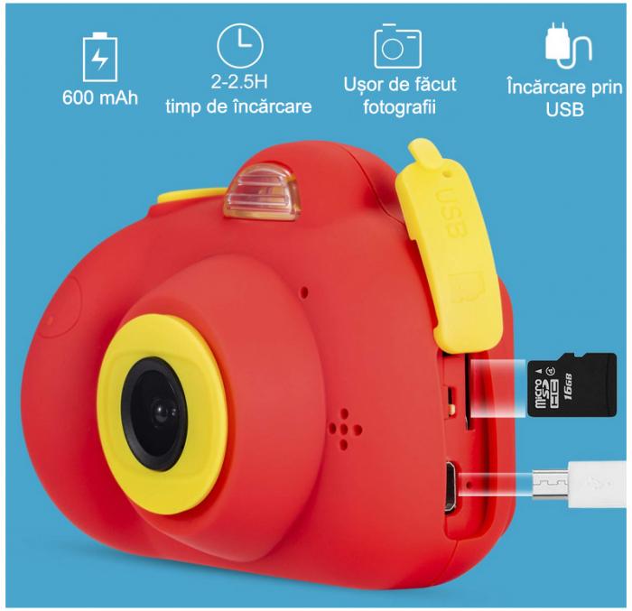 Aparat Foto Compact pentru Copii, Rosu, cu functie Selfie, Recunoastere Faciala, Filmare HD 3