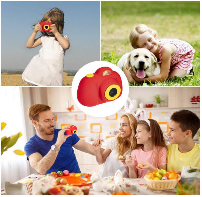 Aparat Foto Compact pentru Copii, Rosu, cu functie Selfie, Recunoastere Faciala, Filmare HD 7