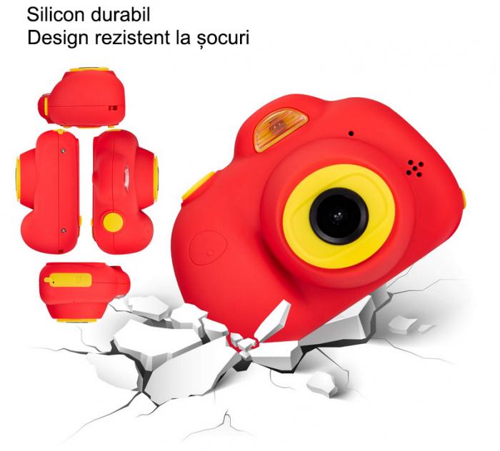 Aparat Foto Compact pentru Copii, Rosu, cu functie Selfie, Recunoastere Faciala, Filmare HD 6