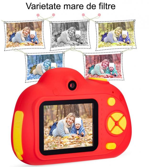 Aparat Foto Compact pentru Copii, Rosu, cu functie Selfie, Recunoastere Faciala, Filmare HD 5