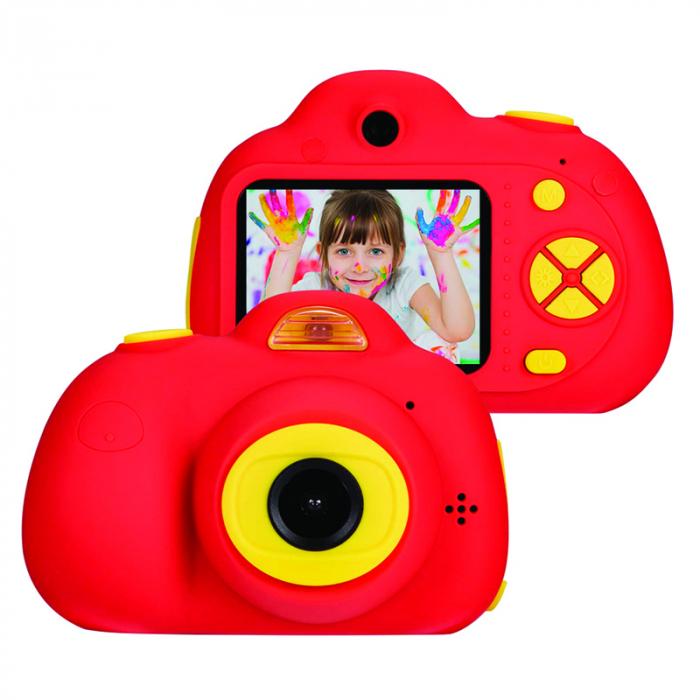 Aparat Foto Compact pentru Copii, Rosu, cu functie Selfie, Recunoastere Faciala, Filmare HD 2