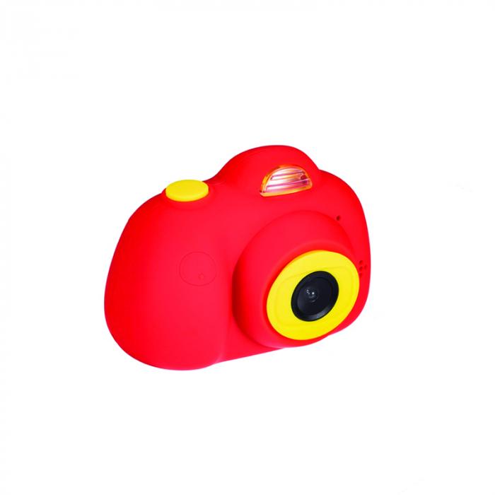 Aparat Foto Compact pentru Copii, Rosu, cu functie Selfie, Recunoastere Faciala, Filmare HD 0