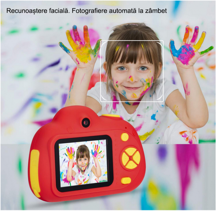 Aparat Foto Compact pentru Copii, Rosu, cu functie Selfie, Recunoastere Faciala, Filmare HD 4