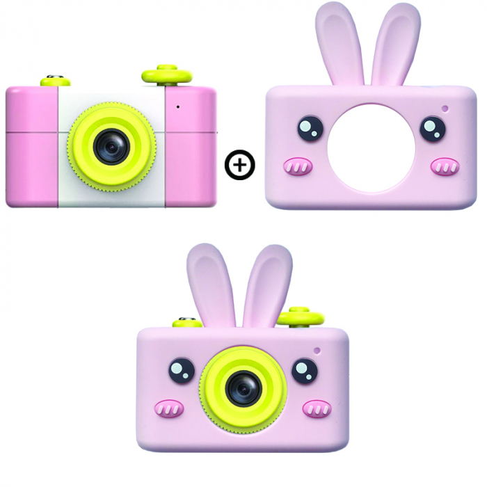 Aparat Foto Compact pentru Copii, Roz, cu Obiectiv, Fotografiere Full HD, Filmare HD + Cadou Husa de protectie 0
