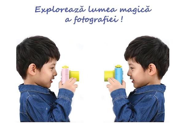 Aparat Foto Compact pentru Copii, Roz, cu Obiectiv, Fotografiere Full HD, Filmare HD + Cadou Husa de protectie 7
