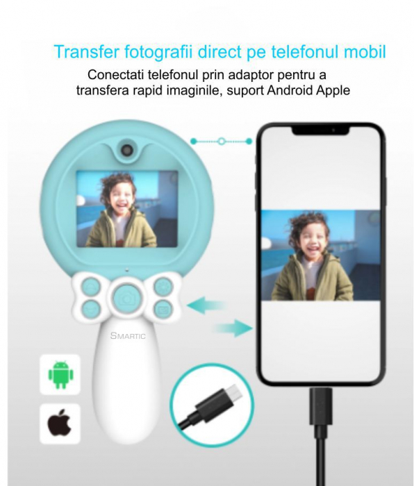 Aparat foto copii, SMARTIC ®, full HD, Magic Mirror V2, display 2.0 inch, blitz de tip LED, BPA free, Albastru/Alb 8