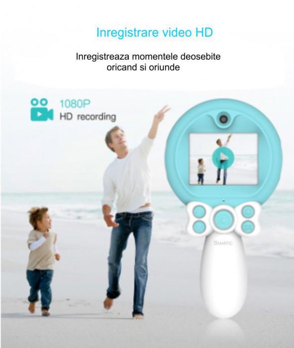 Aparat foto copii, SMARTIC ®, full HD, Magic Mirror V2, display 2.0 inch, blitz de tip LED, BPA free, Albastru/Alb [9]