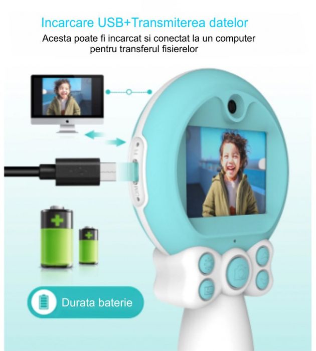 Aparat foto copii, SMARTIC ®, full HD, Magic Mirror V2, display 2.0 inch, blitz de tip LED, BPA free, Albastru/Alb 4