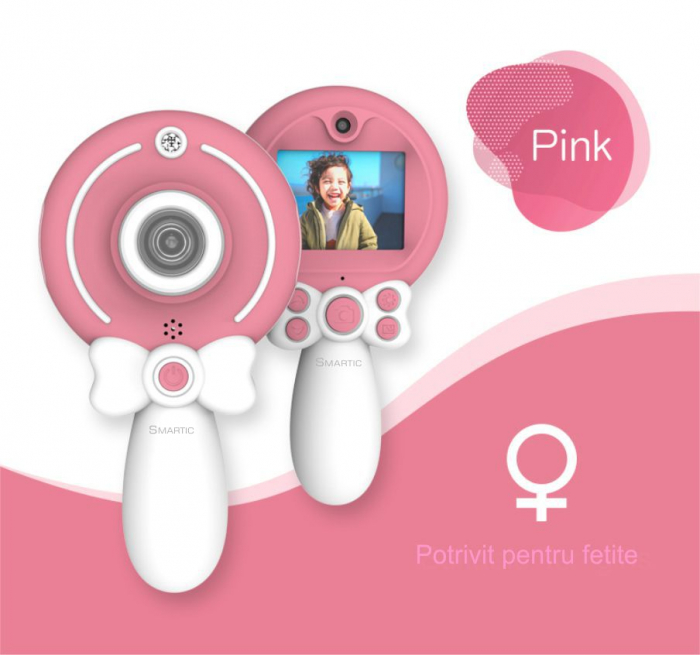 Aparat foto copii, SMARTIC ®, full HD, Magic Mirror V2, display 2.0 inch, blitz de tip LED, BPA free, Roz/Alb 3