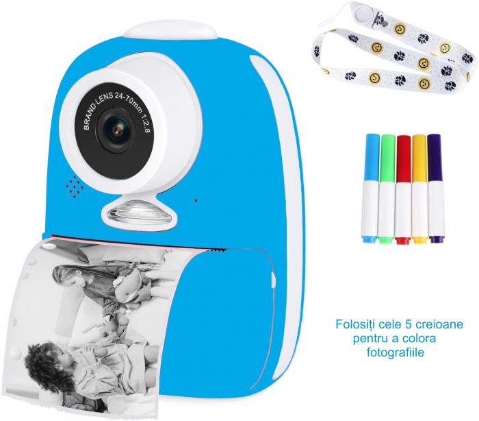 Aparat foto digital instant pentru copii, Lentile Duble, Imprimare Instant, Inregistrare Video, Focalizare Automata, Functie Selfie, 1080P HD, 18MP, 2.0 inch, Smartic®, albastru [5]