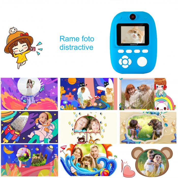 Aparat foto digital instant pentru copii, Lentile Duble, Imprimare Instant, Inregistrare Video, Focalizare Automata, Functie Selfie, 1080P HD, 18MP, 2.0 inch, Smartic®, albastru [4]