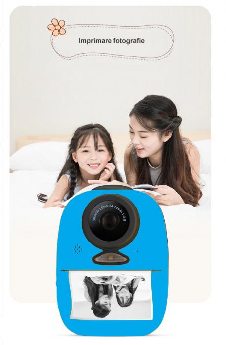 Aparat foto digital instant pentru copii, Lentile Duble, Imprimare Instant, Inregistrare Video, Focalizare Automata, Functie Selfie, 1080P HD, 18MP, 2.0 inch, Smartic®, albastru [2]