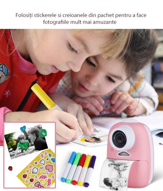 Aparat foto digital instant pentru copii, Lentile Duble, Imprimare Instant, Inregistrare Video, Focalizare Automata, Functie Selfie, 1080P HD, 18MP, 2.0 inch, Smartic®, roz 5
