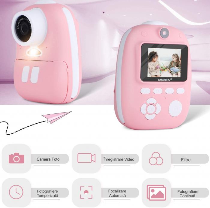 Aparat foto digital instant pentru copii, Lentile Duble, Imprimare Instant, Inregistrare Video, Focalizare Automata, Functie Selfie, 1080P HD, 18MP, 2.0 inch, Smartic®, roz 3