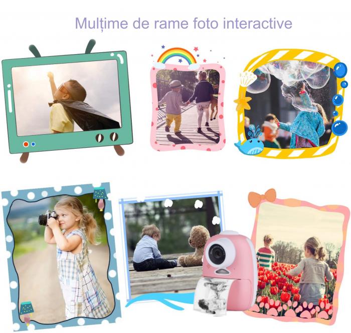 Aparat foto digital instant pentru copii, Lentile Duble, Imprimare Instant, Inregistrare Video, Focalizare Automata, Functie Selfie, 1080P HD, 18MP, 2.0 inch, Smartic®, roz 4