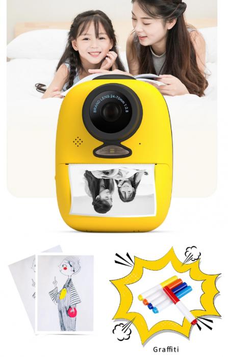 Aparat foto digital instant pentru copii, Lentile Duble, Imprimare Instant, Inregistrare Video, Focalizare Automata, Functie Selfie, 1080P HD, 18MP, 2.0 inch, Smartic®, galben 9