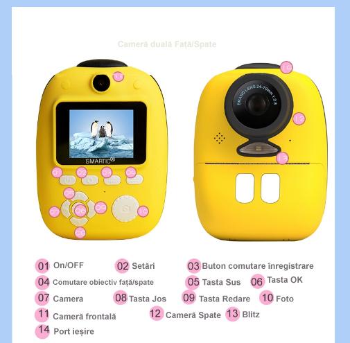 Aparat foto digital instant pentru copii, Lentile Duble, Imprimare Instant, Inregistrare Video, Focalizare Automata, Functie Selfie, 1080P HD, 18MP, 2.0 inch, Smartic®, galben 7